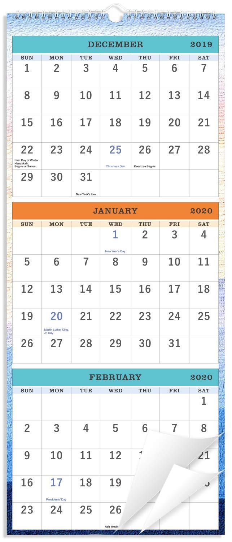 """2020 Wall Calendar - 3-Month Display Vertical Calendar, Calendar Planner 2020, 11"""" x 26"""", Large, Lay- Flat, December 2019 - January 2021"""