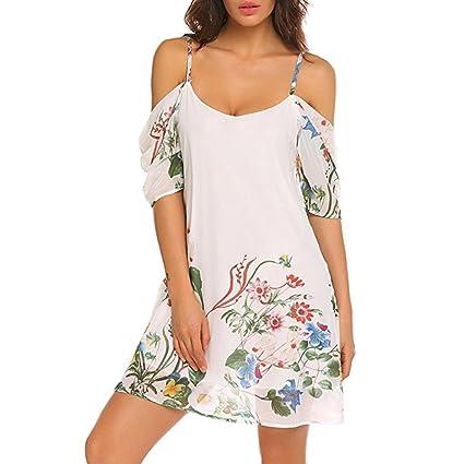 LILICAT® Vestidos de gasa de verano, 2018 Vestido de hombro estampado floral de moda