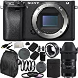Sony Alpha a6300 Mirrorless Digital Camera with 18-35mm f/1.8 DC HSM Art Lens for Canon & MC-11 Mount Converter/Lens Adapter (Sigma EF-Mount Lenses to Sony E) 19PC Bundle. Includes 2 Replacement FW-50 Batteries + MORE