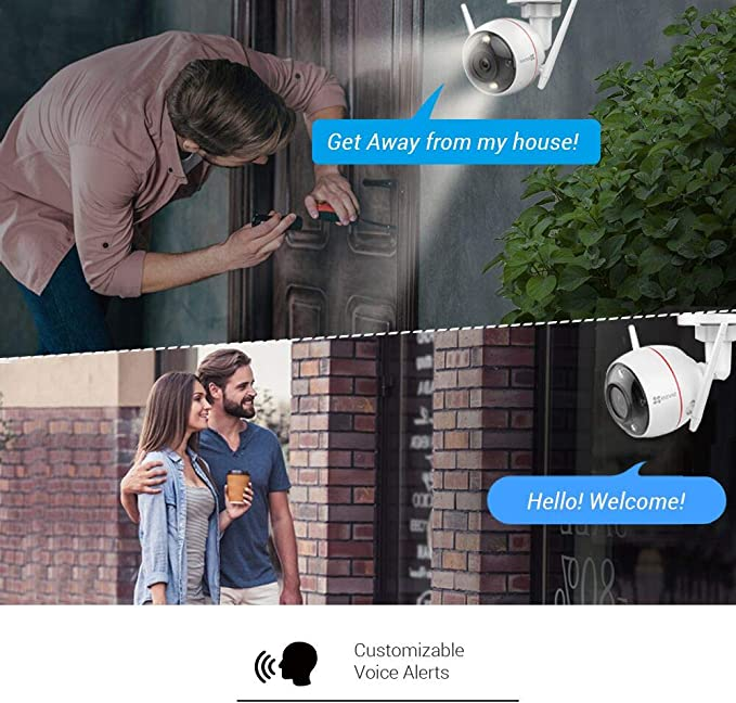 Ezviz C3w Color Night Vision 1080p Überwachungskamera Aussen Wifi 2 4ghz Kamera Sirene Und Licht Alarm Farbe Nachtsicht Zwei Wege Audio High Db Lautsprecher Kompatibel Mit Alex Google Home Baumarkt