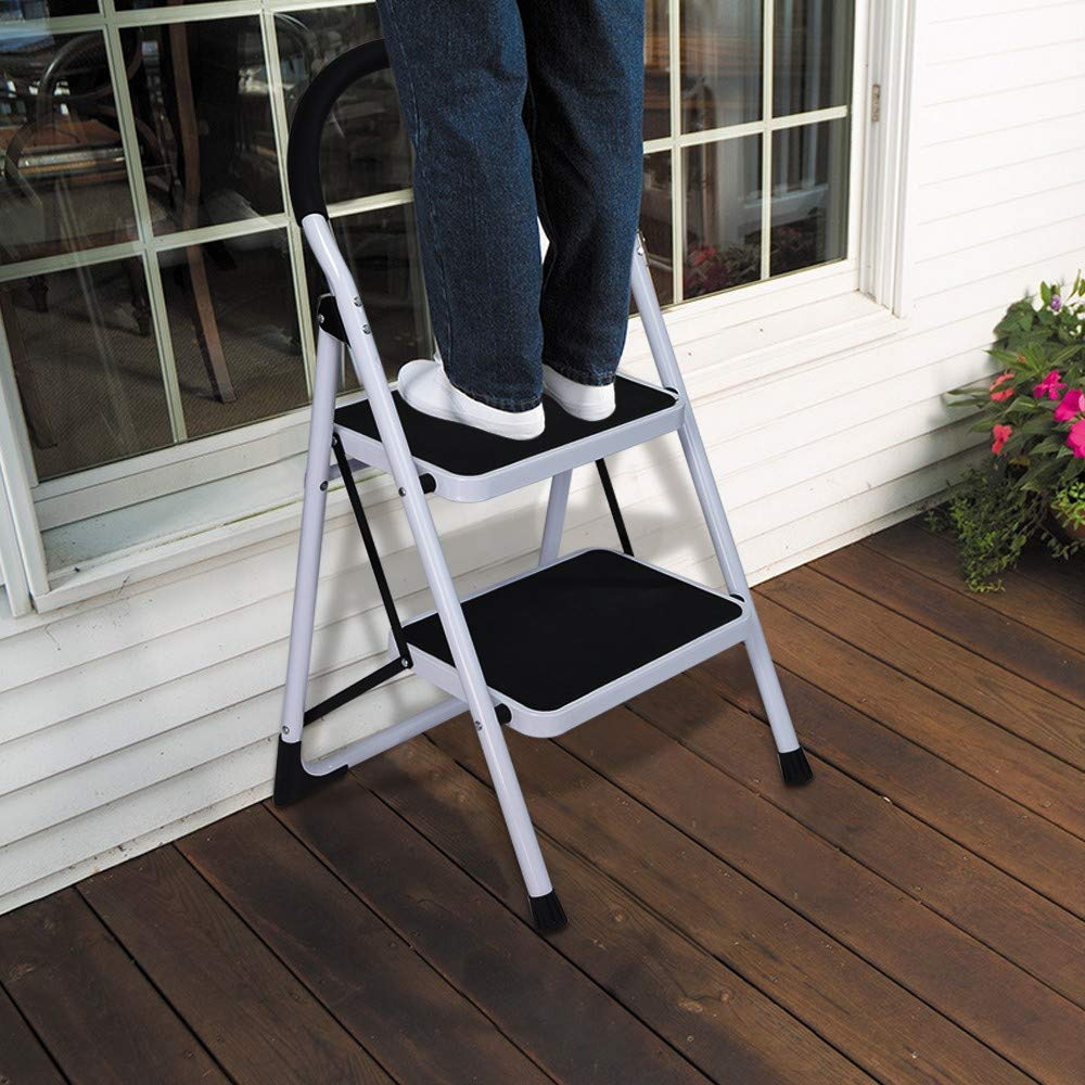 Folding Step Stool, SIN+MON 2 Step Ladder Thick Steel Pipe Step Ladders with Hand Grip Anti-Slip and Wide Pedal Sturdy Steel Ladder 300lbs White and Black Combo(2 Step Ladder) [Ship from USA] (White)