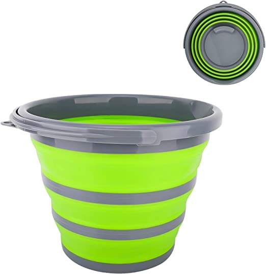 10L Folding Bucket Collapsible Silicone Water Bucket Hiking Travel Barrel