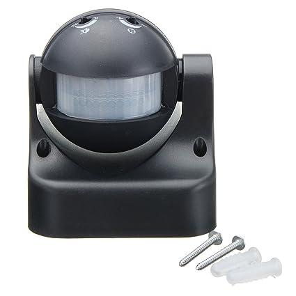 GOZAR Auto Pir Sensor De Movimiento Detector Interruptor Hogar Jardín Luz Exterior Lámpara Interruptor Negro