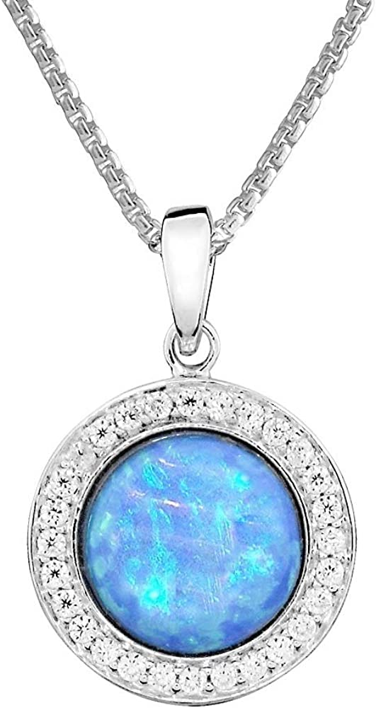 """16/"""" with 2/"""" Extender Vibrant Blue Color in 925 Sterling Silver Paul Wright Created Opal Pendant Necklace with Cubic Zirconia Surround"""
