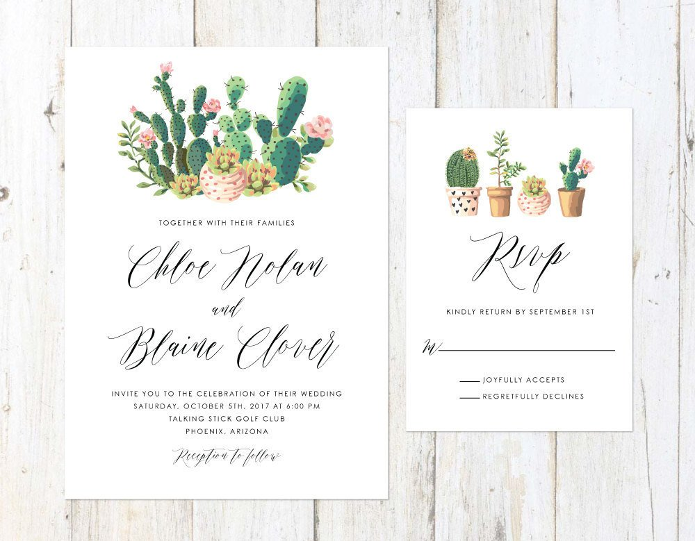 Succulent and Cactus Invitation, Watercolor Cactus Invitation, Arizona Invitation, Palm Springs Invitation