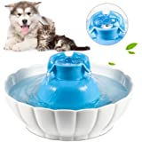Super Silent Pets Ceramic Drinking Fountain for Dogs or Cats Sturdy Healthy Drinking Water Bowl 2.1L / 74 Oz Automatic Electric Water Dispenser Dishwasher Safe,Blue & White