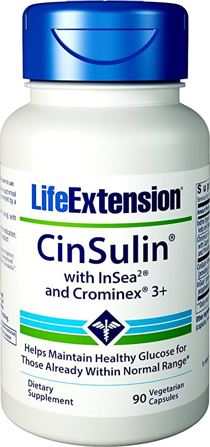 Life Extension CinSulin w/ InSea2 and Crominex 3+, 90 ...