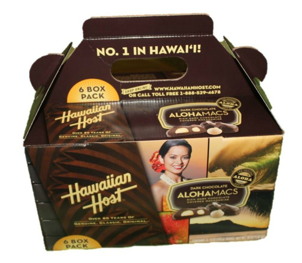 Hawaiian Host Alohamacs Dark Chocolate Covered Macadamia Nuts (6 oz Boxes) (6 Boxes) by Hawaiian Host
