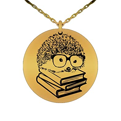 Amazon hedgehog necklace book nerd laser engraved pendant amazon hedgehog necklace book nerd laser engraved pendant teacher love reading with glasses funny gift gold jewelry aloadofball Image collections