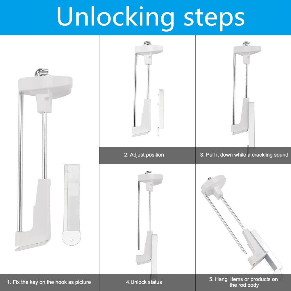Anti-Theft Security Peg Hook 6 20pcsRetail Display Deluxe Chrome Hooks Perfectly Display Cellphone Accessories Exhibiton Products for Office Retail Shop a Magnetic Key Free XCHTX