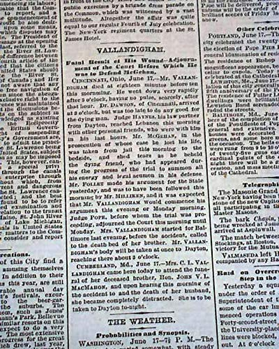 (CLEMENT VALLANDIGHAM Very Bizarre Death Shoots Self by Accident 1871 Newspaper THE NEW YORK TIMES, June 18,)