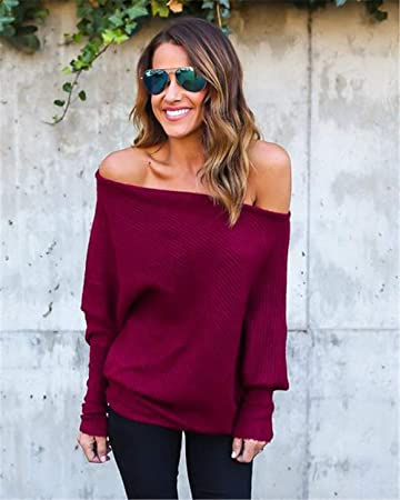 ac30a227ed0 Women Sweaters Womens Off Shoulder Batwing Sleeve Loose Oversized Pullover  Sweater Knit Jumper Spring Autumn Winter