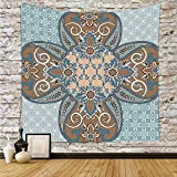iPrint Polyester Tapestry Wall Hanging,Arabian,Arabian Style Geometric Pattern Islamic Persian Art Elements and Baroque Touch Art,Brown Teal,Wall Decor for Bedroom Living Room Dorm