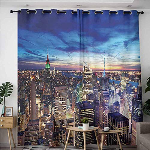 AndyTours Window Curtain Panel,City,Empire State and Skyscrapers of Midtown Manhattan New York Aerial View at Dusk,Space Decorations,W72x96L,Tan Navy Blue Aqua]()