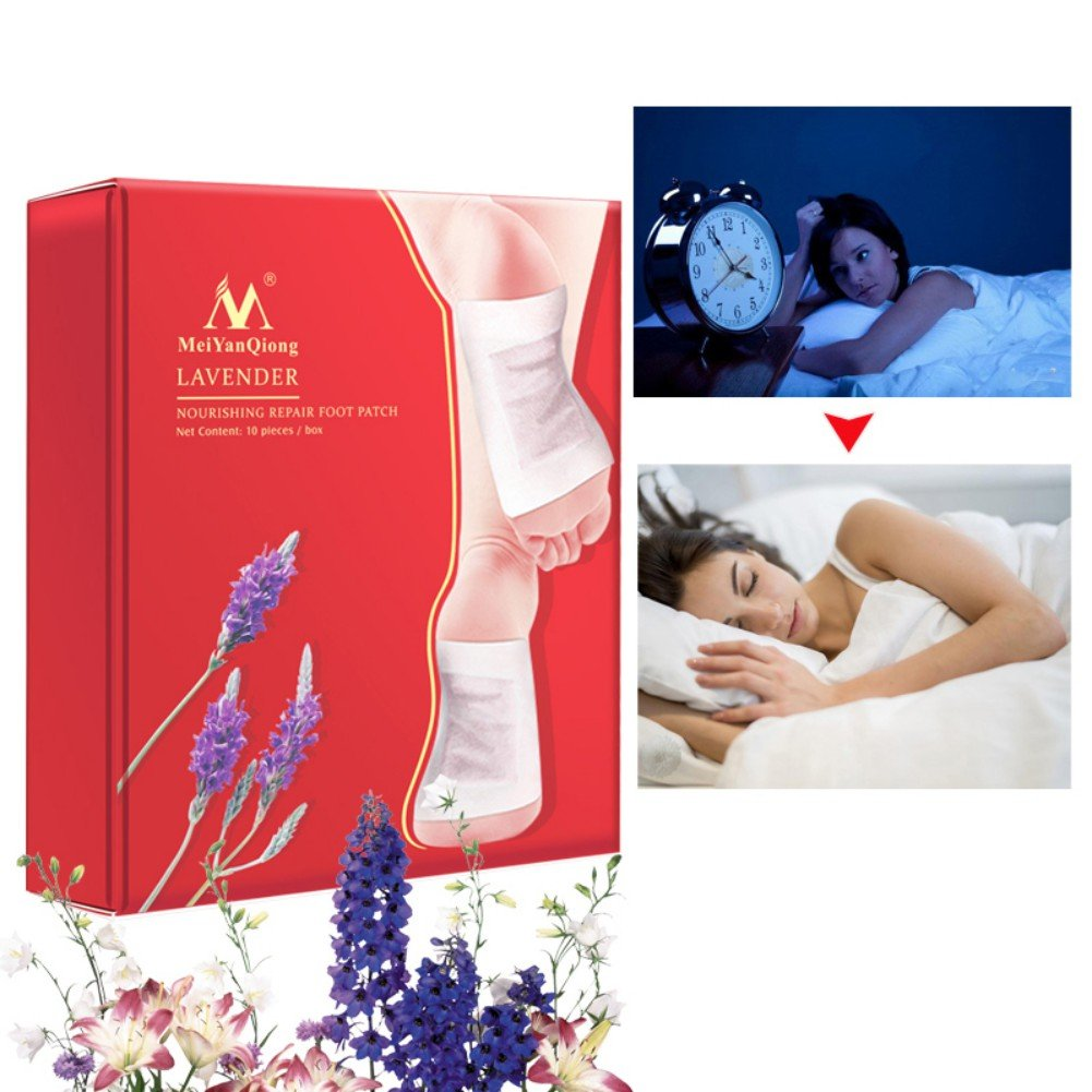 Symeas 10 Packs Foot Pads Bamboo Vinegar Lavender Nourishing Repair Foot Patch For Better Sleep Dysmenorrhea Enhance Blood Circulation Activate Metabolism Improve Sleep Quality