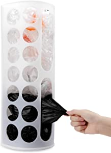 Lunies Wall Mount Bag Dispenser Large Capacity Plastic Bag Holder - Multiple Large Holes for Easy Access Bags Great for Storing Shopping/Grocery Bags/Vinyl White 1 Pack