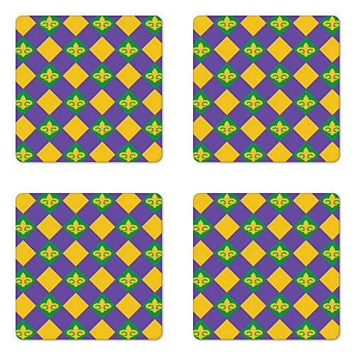 Ambesonne New Orleans Coaster Set of 4, Mardi Gras Themed Rhombuses with Fleur De Lis Motifs Classic Geometry, Square Hardboard Gloss Coasters for Drinks, Green Violet Yellow]()