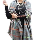 HERRICO Women's British College Style Grid Pattern Shawl Scarf Light gray