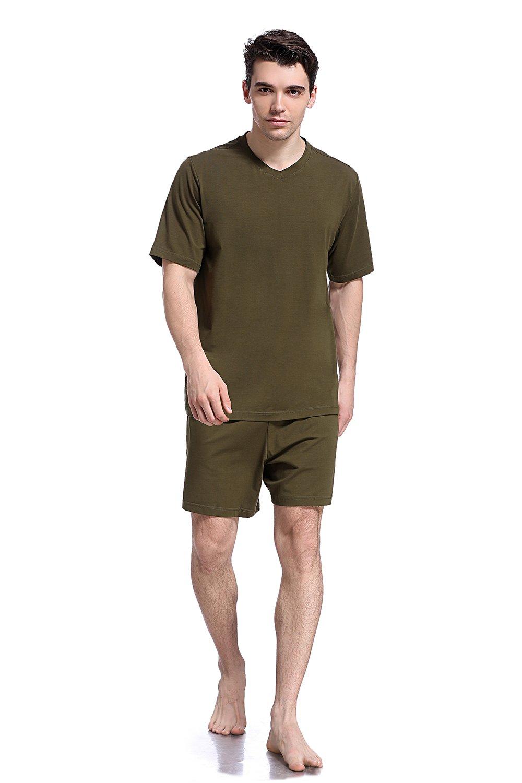 Like2sea Summer Cotton Pajamas for Men, Short V-Neck PJ Set, Green, M