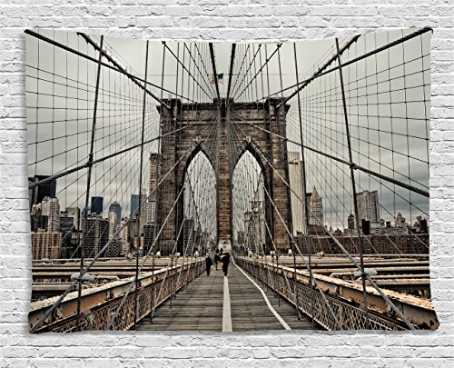 Ambesonne United States Tapestry, View of Historical Famous Brooklyn Bridge and Cable Pattern NYC Architecture, Wide Wall Hanging for Bedroom Living Room Dorm, 60