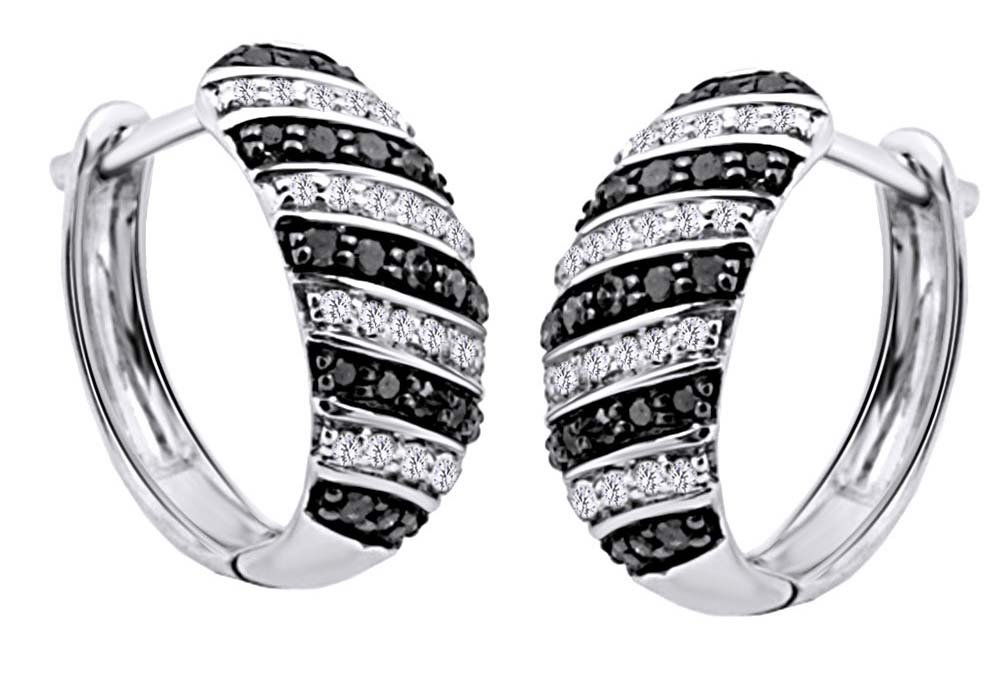 Round Cut White & Black Natural Diamond Hoop Earrings In 14K White Gold Over Sterling Silver (0.5 Cttw)