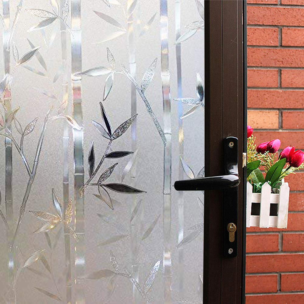 Mikomer Static Cling Window Film,Privacy Door Film,Decorative Glass Film,Bamboo/Removable/Stained Glass/Anti UV for Home and Office Decoration,35In. by 78.7In.