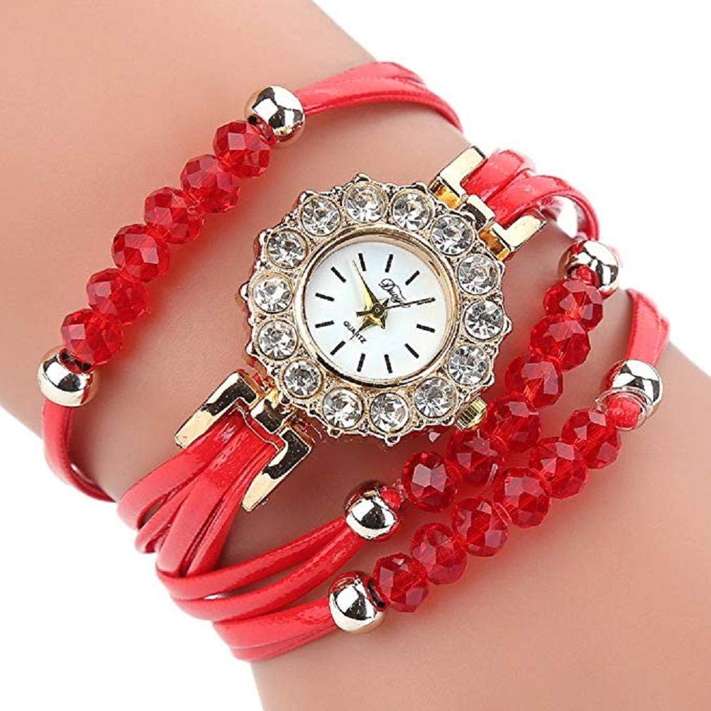 Scpink Reloj para Mujer, Reloj de Pulsera de Lujo con Estilo único Reloj de Cuarzo con Dial de Diamantes de Imitación Correa de Cuero con Wrist Reloj ...