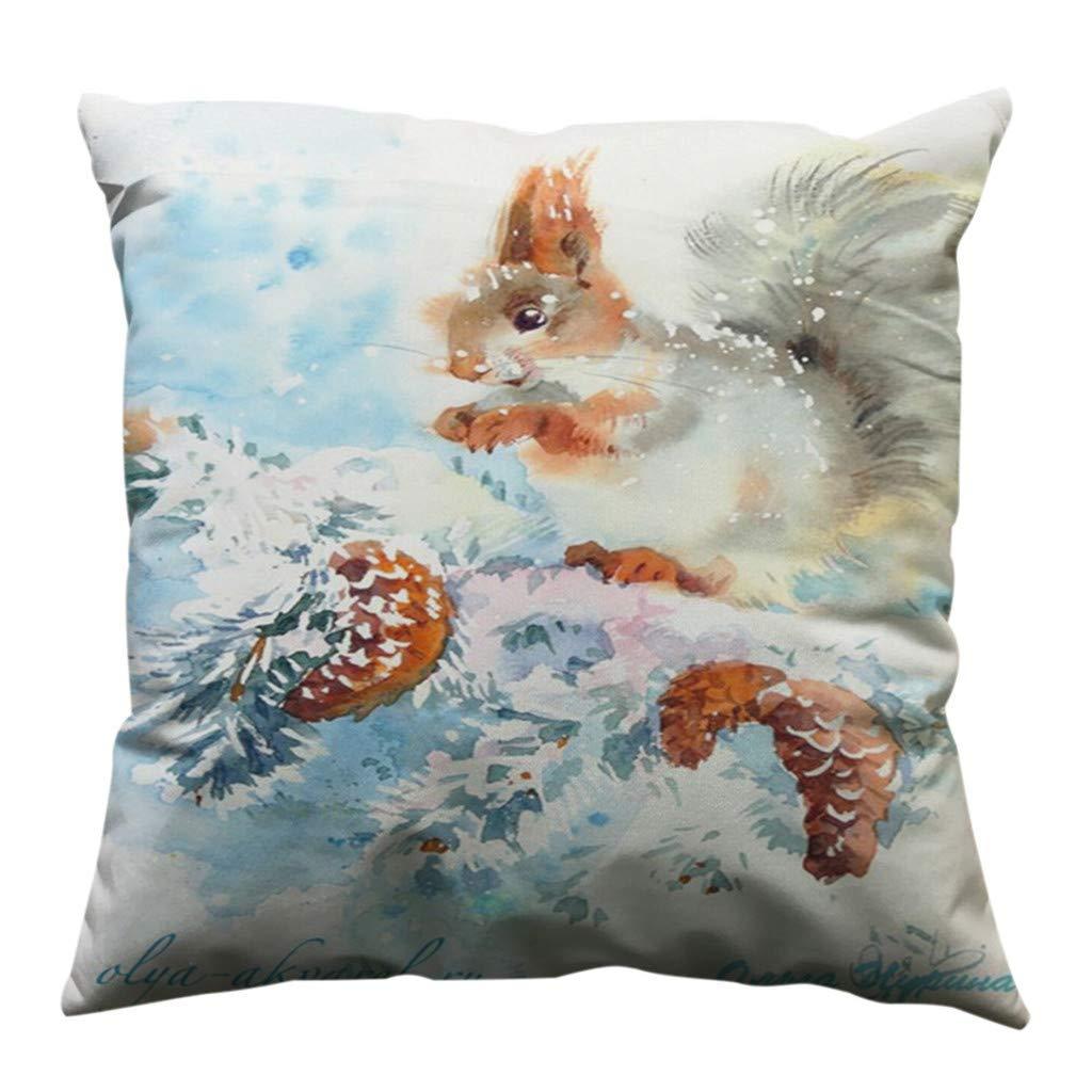Psunrise La Almohada Minimalist Squirrel Pattern Pillow Case Cotton Soft Sofa Throw Cushion Cover Home Decor(45x45 cm, C)