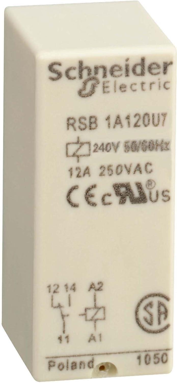 Schneider Electric RSB1A120U7 Relay 12A 240V, Int Relay 12A 1 C/O 240Vac