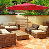 13ft German Beech Wood Wooden Outdoor Patio Umbrella Yard Cafe Store Pool - Red