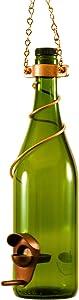 Blue Ridge Mountain Gifts - Wine Bottle Bird Feeder 25 Ounce Seed Capacity Bird Feeders for Outside Patio or Garden Décor Variety of Colors Handmade (Green & Copper)