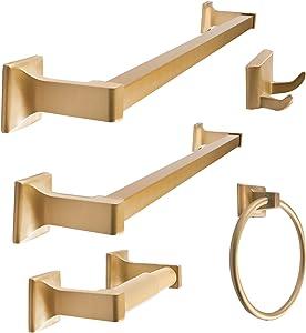 "SENTO Cellar Classic Bathroom Accessories Set, Heavy Duty Metal Bath Hardware Set Wall Mounted, Includes Robe Hook, Toilet Paper Holder, Towel Ring, 18"" & 24"" Towel Bar (5-Piece, Satin Brass)"