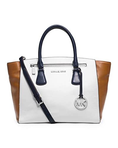 cd5f465f5279 MICHAEL Michael Kors Large Sophie Satchel in White  Cedar  Navy  Handbags   Amazon.com