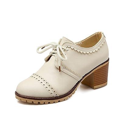 630bd462c58 Susanny Classic Retro PU Oxfords Brogue Shoes Women s Mid-Heel Wingtip Lace  Up Dress Shoes
