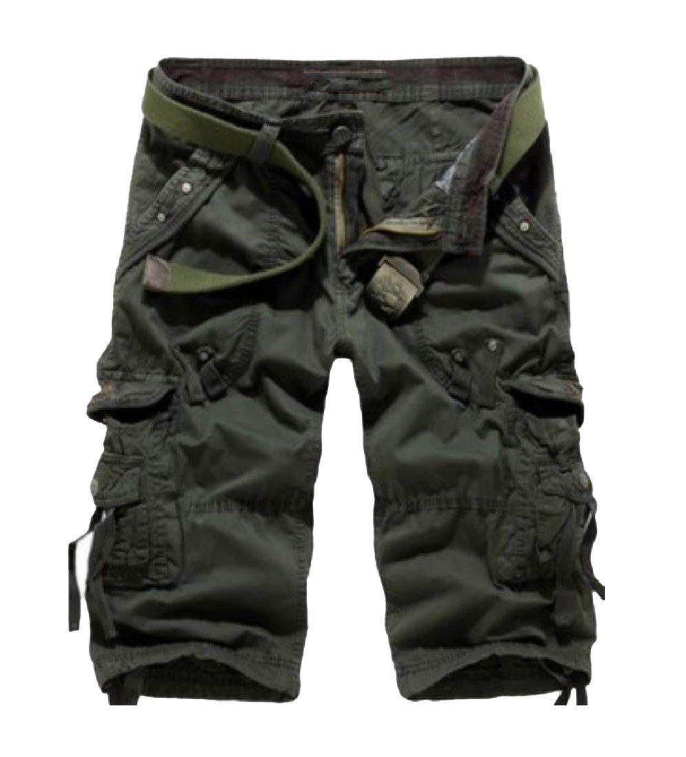 neveraway Men Multi-Pocket Summer Capri Pant Plus Size Casual Office Work Cargo Shorts Army Green 2XL