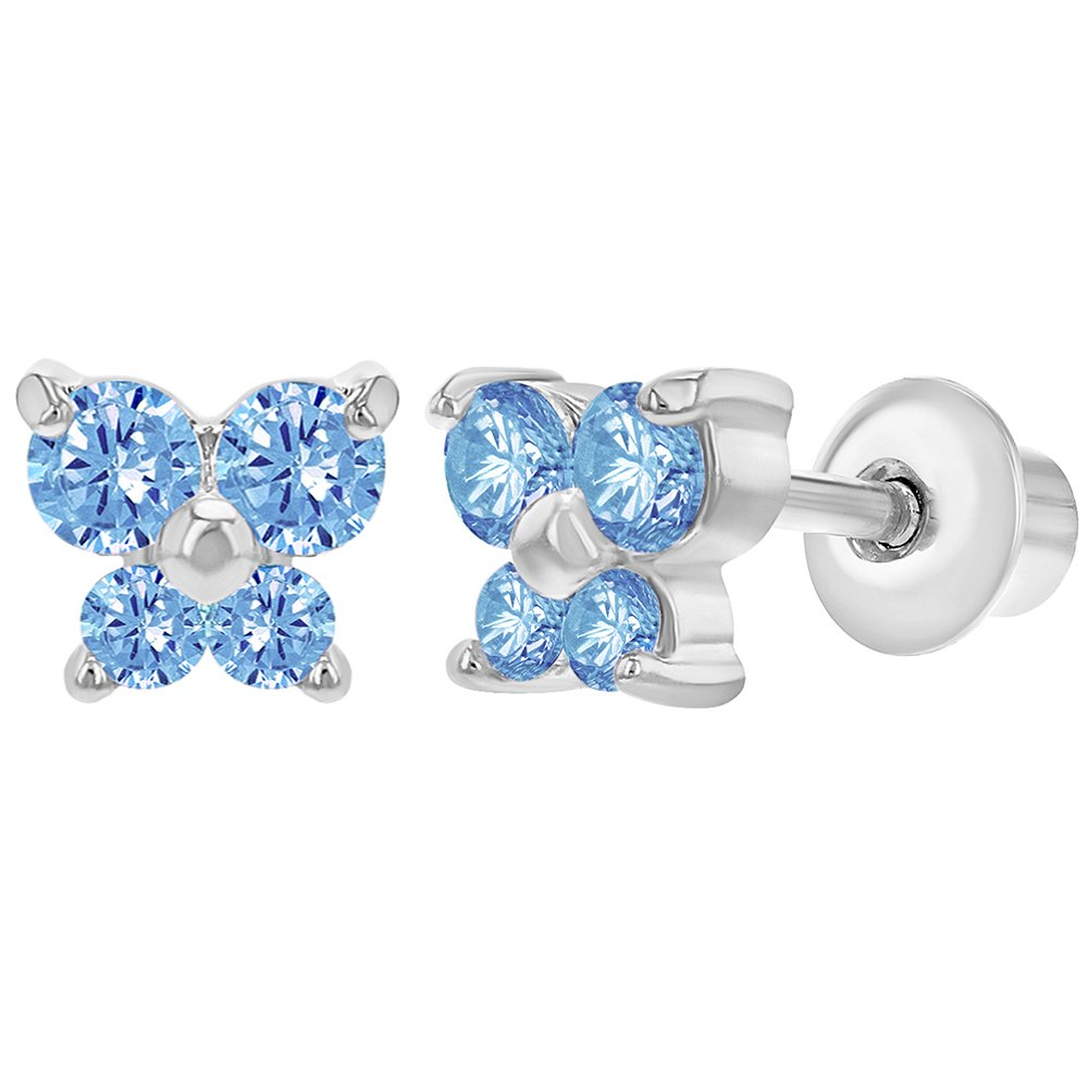 Rhodium Plated Tiny Butterfly Light Blue CZ Screw Back Baby Girl Earrings In Season Jewelry 03-0509