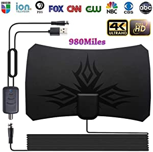 Indoor Digital TV Antenna, HD TV Antenna Amplified 980 Miles Long Range Detachable Amplifier Signal Booster for 1080P with 16.5ft High Reception Coax Cable and USB Power Supply