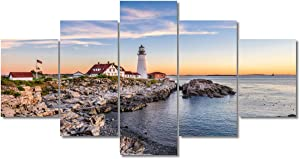 Portland Maine Bay Lighthouse Pictures for Living Room Native American Wall Art House Decorations 5 Panel Canvas, Morning Skyline Painting Home Decor Modern Artwork Framed Ready to Hang(60