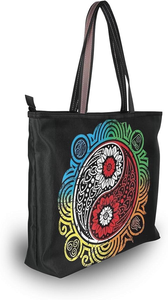 DEYYA Women Large Tote Bag Yin Yang Trans Shoulder Handbags Satchel Messenger Bags for Ladies