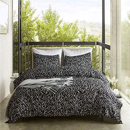 ViviLinen Duvet Cover Set Black and White Fade Resistant Bedding Linens Ultra Soft 3-Pieces Quilt Cover Set (Queen)