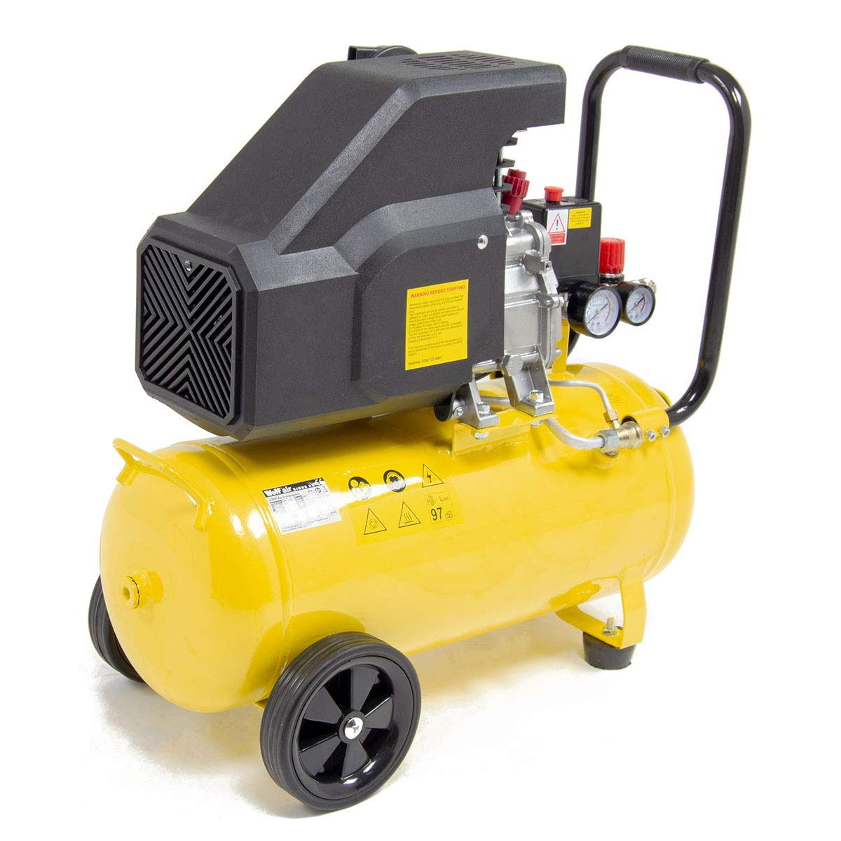 Wolf Sioux 24L Air Compressor 2.5HP Motor 9.6 CFM 116 PSI 230V with 5 Piece Air Tool Kit /& Air Brush Kit