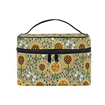 74819f492d07 Cosmetic Bag Sunflowers And BeesTravel Makeup Brush Organizer ...