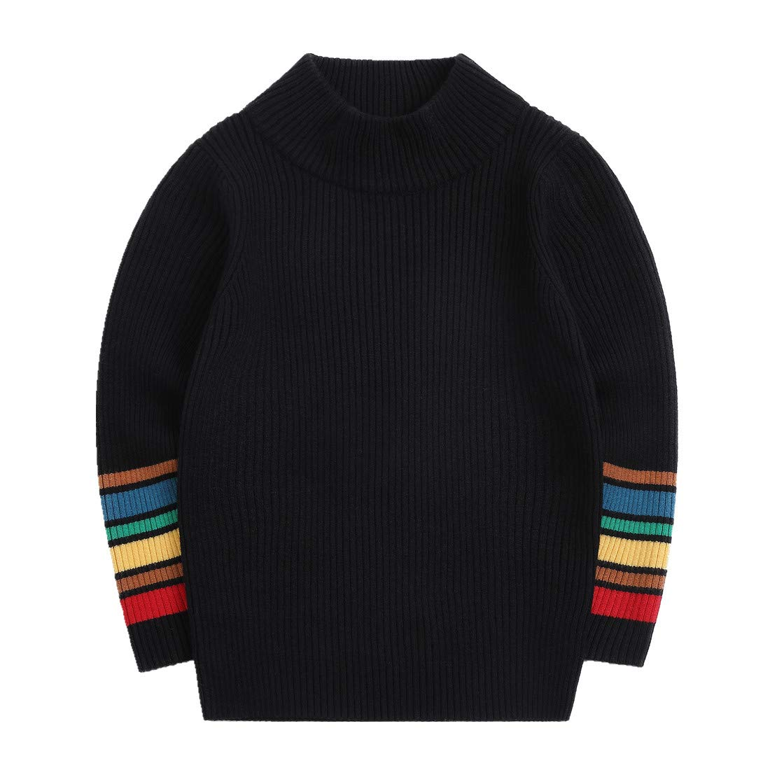 Sooxiwood Little Boys Sweater High-Collar Colorful Cuff