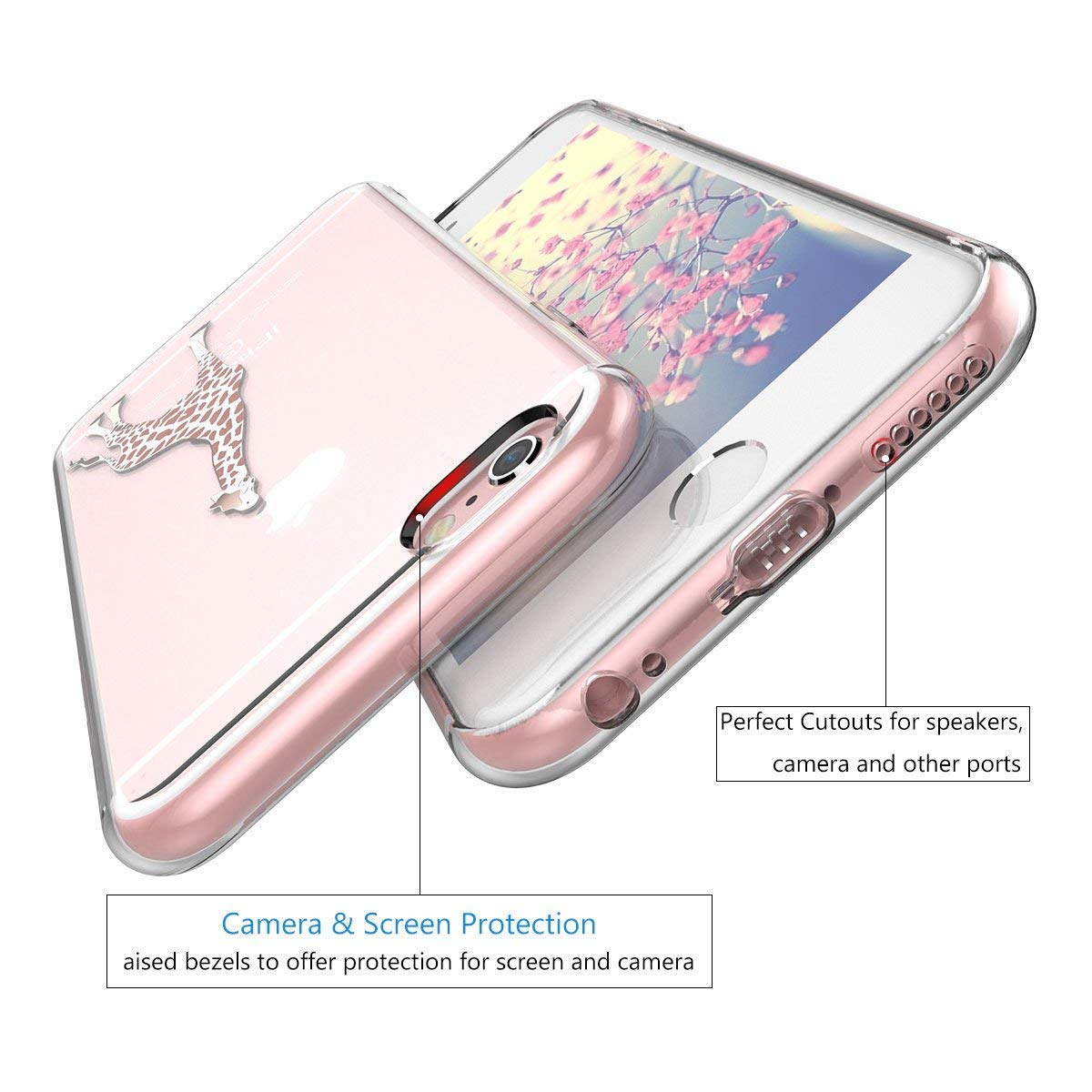 Mond Angeln Universum Giraffe CreWin Kompatibel mit iPhone 7 Plus H/ülle iPhone 8 Plus Handyh/ülle Transparent Silikon Bumper Durchsichtig Schutzh/ülle Lieblich Logo Kreativ Muster Handytasche
