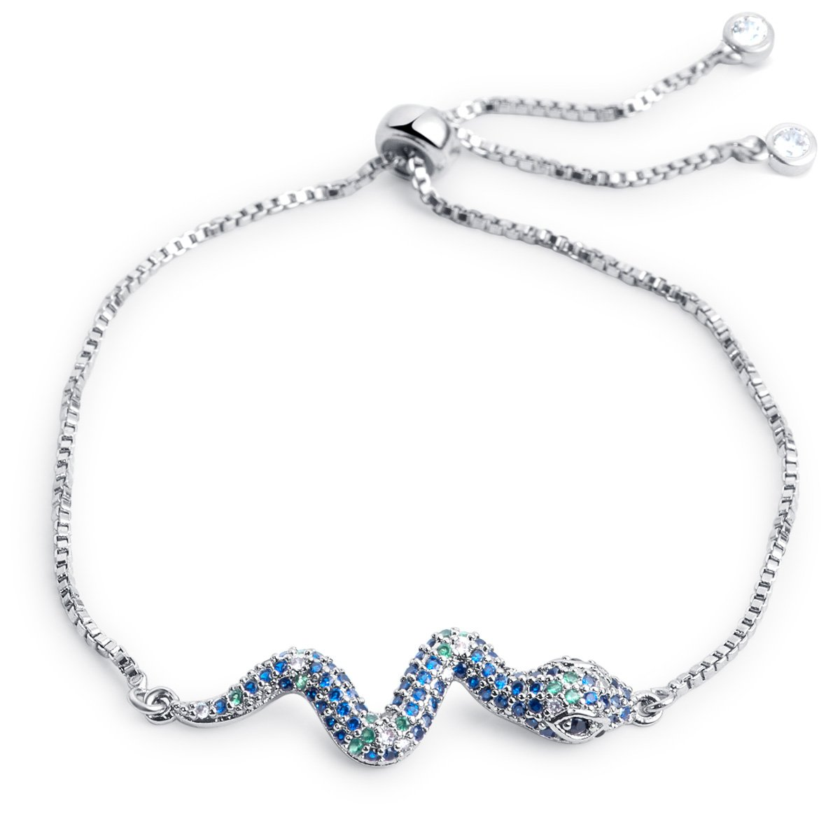 Karseer Snake Shape Bracelet with Adjustable Sliding Metal Knot & Cubic Zirconia Charm Tassel, Color Crystals Micro paved Animal Jewelry Gift for Girls and Women, White Gold