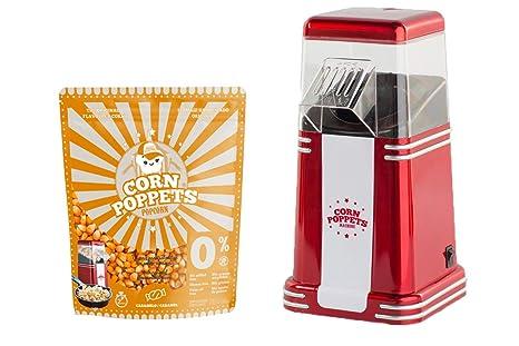 Popcorn-Automat Corny Poppets 1200 W + 3 vasos de cartón + maíz para palomitas