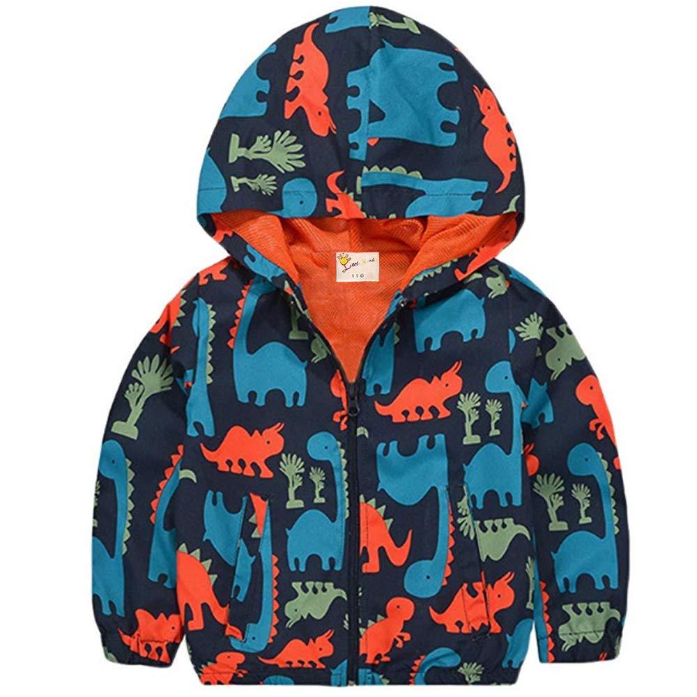 Little Boys Dinosaur Rain Coat, Hooded Jackets Breathable Mesh Lined Windbreaker 8035002