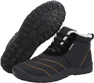 Mdurian Donna Uomo Stivali Invernali Stivaletti Neve Pelle Impermeabile Scarpe Pelliccia Caldo Stringate Caviglia Boots Piatto All'aperto