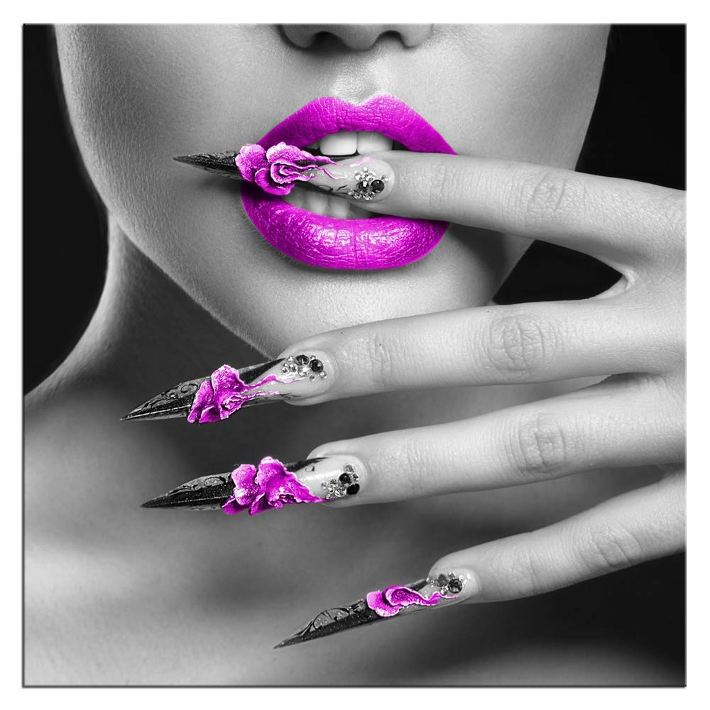 Biuteawal - Modern Canvas Prints Wall Art Fashion Woman with Purple Lips and Nails Pictures Elegant Makeup and Manicure Poster for Spa Bathroom Beauty Salon Wall Decoration Framed Ready to Hang