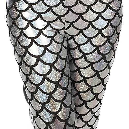 YOBOKO Mermaid Leggings, Mermaid Fish Scale Printed Leggings Stretch Tight Pants for Women Pants S-3XL (L-XL, Silver) by YOBOKO (Image #2)